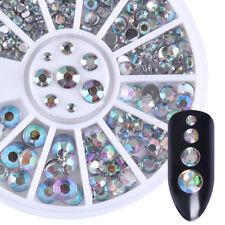 Holographic 3D Nail Decoration in Wheel Flatback Rhinestone Round Stone