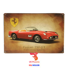 20X30cm CALIFORNIA SPYDER FERRARI 250GT CLASSIC SPORT CARS METAL SIGN TIN DECOR