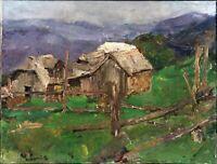 """Russischer Impressionist Öl Leinwand """"Dorf"""" 80x70 cm"""