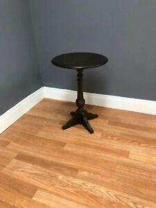 Vintage Ethan Allen Royal Charter Oak Pedestal Side Table - Dark Tone Lamp End