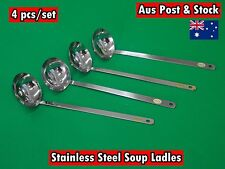 Set of 4 Kitchenware Stainless Steel Good Quality Soup Ladles 22cm (A40) NEW