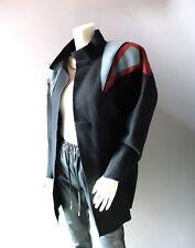 Vintage 1980s Coat OSGOOD SMUK Black Felted Wool Patchwork Leather Jacket sz M/L