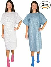 2 Pack - Unisex Hospital Gowns (Blue and White) - Patient Gown