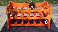 Casier à bouteilles orange vintage ancien étagère support range porte bouteilles