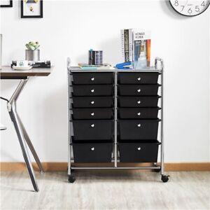 12 Drawer Rolling Storage Cart Scrapbook Paper Studio Organizer Office school