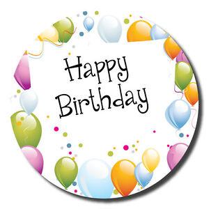 'Happy Birthday' stickers - 60mm - space to write name - balloons - white