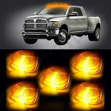 5x Cab Roof Top WHITE 6 LED Lights Amber Lens Marker Running Lamps truck RV 4X4
