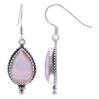 925 Sterling Silver Pear Shape Genuine Pink Shell Drop Earrings