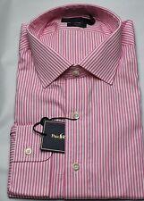 Polo Ralph Lauren Dress Shirt Mens 16 40 41 Regent Fit Pink White Stripe