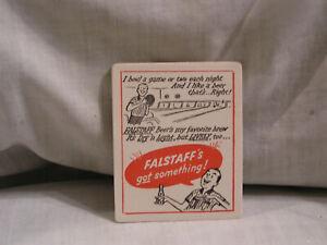 FALSTAFF BEER COASTER WITH MAN BOWLING