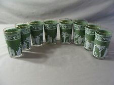 8 Vintage Green & White Grecian Hellenic Glass 10 oz. Tumblers