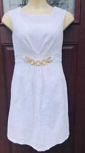 Sandra Darren White Textured Dress Size 12 Stretch Cotton sleeveless Midi Beach
