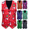 Mens Snowman Xmas Christmas Fancy Vest Vintage Button Up Party Sleeveless Jacket
