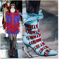 Womens Embroidery Belt Buckle Stilettos High Heel Ankle Boots Shoes Pointed Toe