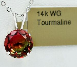 TOURMALINE 2.50 Cts PENDANT 14k WHITE GOLD *** New With Tag in Box ***