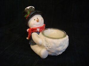 Snowman Candle Holder - Snowman holds Votive Candles