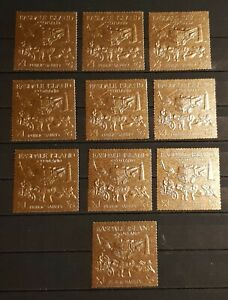 EASDALE ISLAND SCOTLAND PUBLIC SAFETY 10 STAMPS GOLD PERFORED MNH