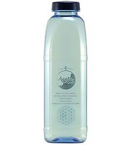 Acala Tritan Trinkflasche  mit Blume des Lebens Aufdruck 1,0 L 8-Kant blau-trans