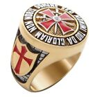 Knight Templar Masonic Ring 18k Gold Pld Red Cross Yellow Handcrafted UNIQABLE
