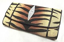 Genuine Stingray Wallets Skin Leather Trifold Pattern Tiger Color Women's Clutch