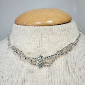 Necklace Silver Tone Rhinestone Chain Special Occasion Wedding 14 - 18 Inches