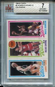1980 Topps Basketball Larry Bird Magic Johnson Rookie Card BVG Nr MINT 7 Dr J