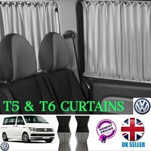 VW T6 T5 T4 Curtain Kit -BLACK Left Centre PASSENGER SIDE Campervan Curtains SET