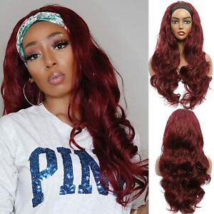 Fashion Wine Red Headband Wig Long Body Wave Synthetic Heat Safe Daily Party Use