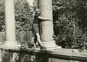 1970s Soviet Cheerful Pretty Girl Smile Dress Hug Column Odd Russian vtg photo