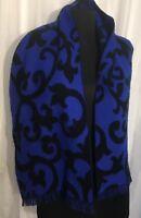 Japan Acrylic Scarf Cashmere Feel Blue Black Swirls Fringe Oblong