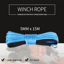 5mm x 15M Blue Winch Rope Dyneema SK75 Synthetic Tow Recovery Cable 4x4 Boat