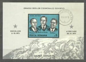 Romania 1971 Space, Soiuz 11, imperf. sheet, used    M.292