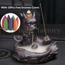 AU Dragon Fish Smoke Backflow Tower Cone Incense Burner Holder Ceramic w/Incense