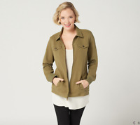 Denim & Co. Comfy Knit Denim Zip-Front Jean Jacket,Deep Olive,Large-A349249-NEW