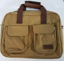 Bella Russo Laptop Computer Carry On Luggage Brief Case Canvas Tote Brown Bag