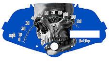 Honda Fury Custom Speedometer Face Plate Skull on Blue  MPH or HM/H