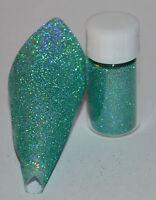 Nail Art Ultra Fine Micro Glitter Holographic Aqua 0.1mm 5 grams per pot