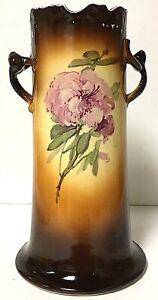 Antique IOGA Warwick Porcelain Double Twig Handle Floral Bouquet Vase