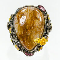 Discount Sale  Natural Rutilated Quartz 925 Sterling Silver Ring Size 8.5/R83704