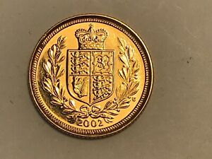 2002 Gold Half Sovereign Elizabeth II Shield Back Golden Jubilee