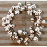 Rustic Cotton Ball Wreath with puffs of cotton Country Wreath Primitive
