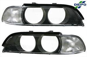 fit BMW E39 97-00 Clear Corner Signal PARK Light Lens w/ Cover 540i 528i Pair