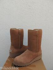 UGG CHESTNUT AMIE CLASSIC SLIM SUEDE/ SHEEPSKIN WEDGE BOOTS, US 8/ EUR 39 ~NIB