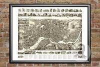 Old Map of Norwich, CT from 1912 - Vintage Connecticut Art, Historic Decor