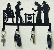 COWBOYS RUSTIC WESTERN METAL ART KEY HOLDER CABIN RANCH LODGE HOME WALL DECOR