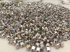 100pcs 4.4mm Sew on AB Clear Glass Crystal Rhinestones Claw Diamonte wedding