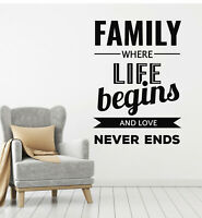 Vinyl Wall Decal Family Inspiring Quote Words Room Home Decor Stickers (g804)