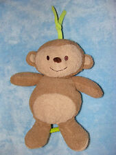 Just One You Tan Plush Monkey Musical Baby Crib Pull Toy Green Teether Tail