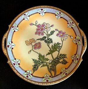 """NIPPON Moriage Hand Painted Floral Beaded 10""""d CAKE PLATE ~ Ca.1900's"""
