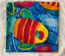 Vintage 80s / 90s Blue Purple Tropical Fish Shower Curtain Colorful Fun for Kids